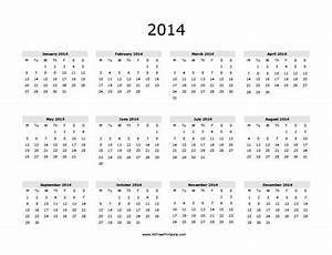 free printable yearly calendar 2014 the best letter sample With full year calendar template 2014