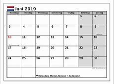 Kalender juni 2019, Nederland Michel Zbinden NL