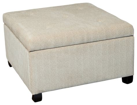 Wilshire Beige Fabric Storage Ottoman   Contemporary   Footstools And Ottomans   by GDFStudio