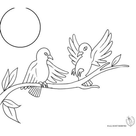 disegni da colorare uccelli disegno di uccelli sull albero da colorare per bambini