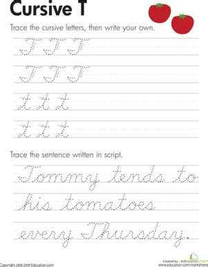 cursive t worksheet education