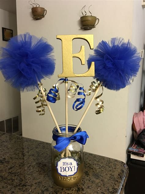 blue centerpieces for baby shower royal blue and gold baby shower centerpiece things i ve made pinterest gold baby showers