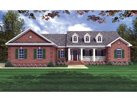 brick ranch home plans with country porch dillon place ranch home plan 077d 0056 house plans