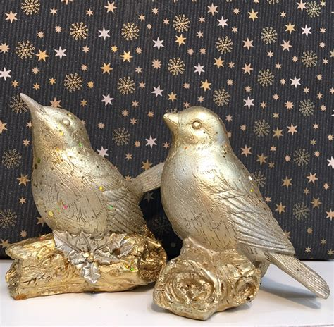 gold bird ornaments set tutti decor  gisela graham