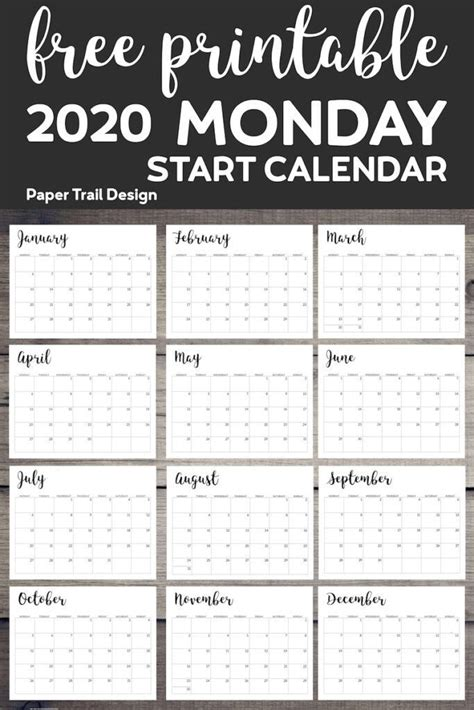 printable  calendar monday start calendar
