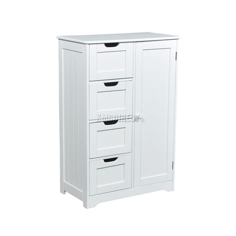 Free Standing Cupboard Storage by Foxhunter White Wooden 4 Drawer Bathroom Storage Cupboard