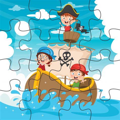 Ilustración del juego de rompecabezas para niños Vector