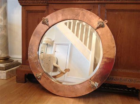 Art Nouveau Copper And Bronze Round Mirror C1890