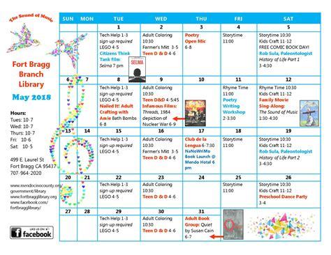 calendar fort bragg library
