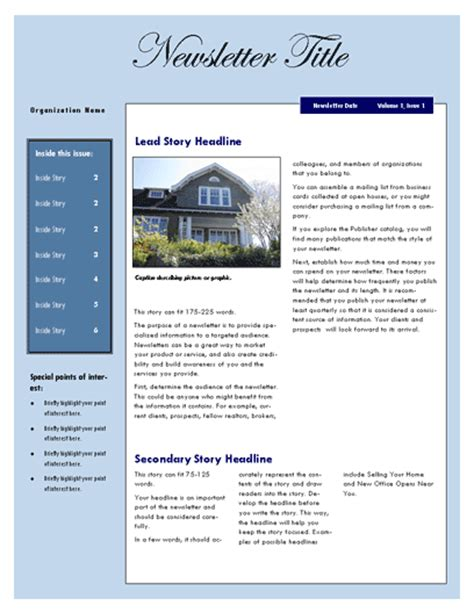 newsletter template microsoft word newsletter