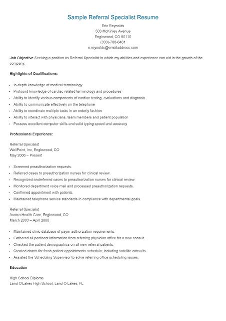 Health Education Specialist Resume by Resume Sles Sle Referral Specialist Resume