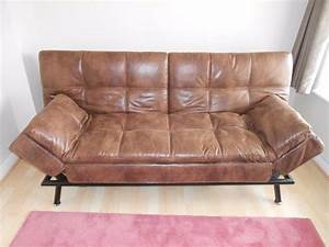Brown faux leather sofa bed home and textiles for Tan leather sofa bed