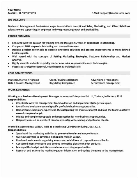 Sle Of A Resume Format by For 5 Years Experience In Marketing 3 Resume Format