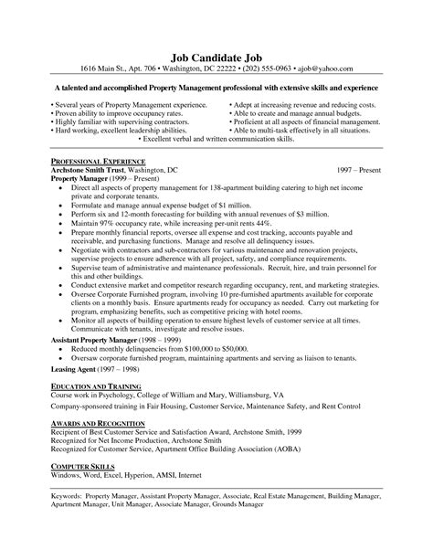 Apartment Property Manager Resume by Assistant Property Manager Resume Template Resume Builder