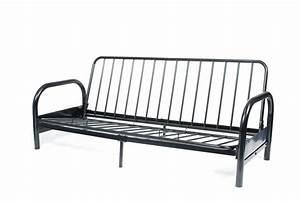 Black metal futon frame for Metal frame futon sofa bed