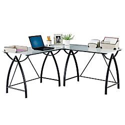 realspace mezza l shaped glass computer desk realspace alluna collection glass l shape desk black
