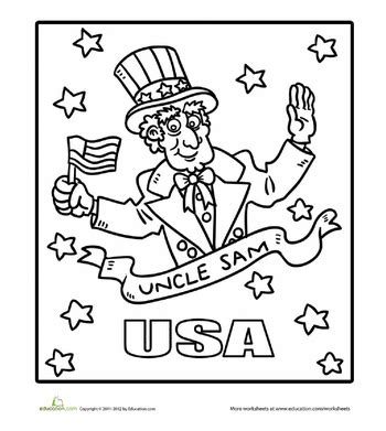 uncle sam coloring page   july coloring pages