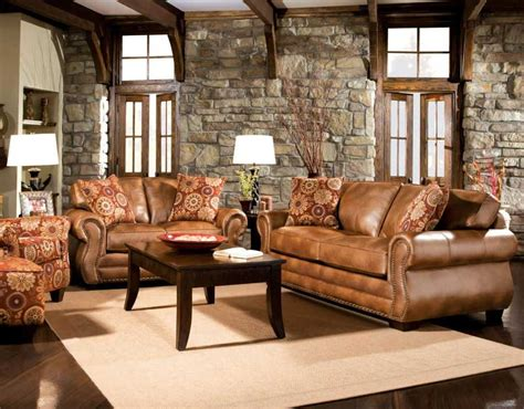 rustic brown leather sofa rustic living room furniture set with brown leather sofa