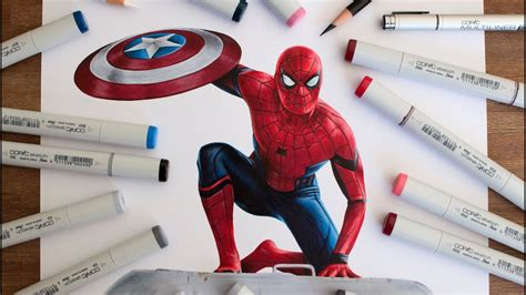 spider man drawing captain america civil war youtube