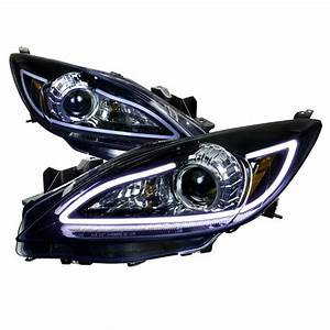Mazdaspeed 3 Custom Lights 10 13 Mazda 3 Black Smoked Lens Halo Angel Eye Projector