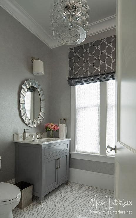 Ideas In Grey by Gray Powder Room Features A Gray Vanity Topped With Gray