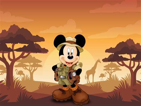 mickey mouse cartoon safari sunset hd wallpaper