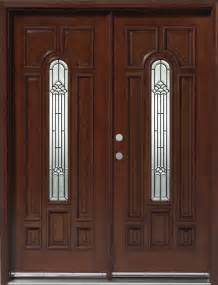 Solid Wood Mahogany 30' Center Arch Exterior Double Door Unit