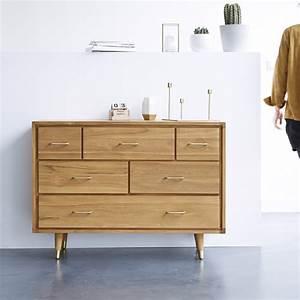 Commode à Tiroirs : commode teck scandinave commodes avec six tiroirs kort ~ Teatrodelosmanantiales.com Idées de Décoration