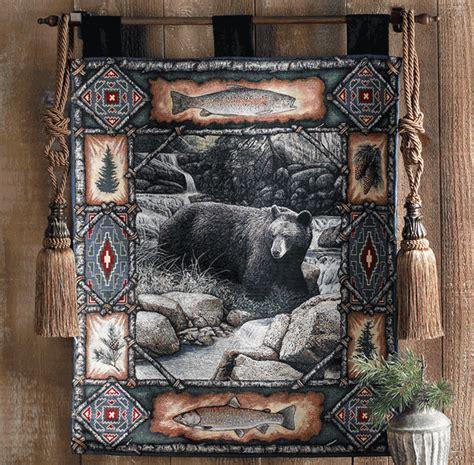 black bear lodge tapestry wall hanging
