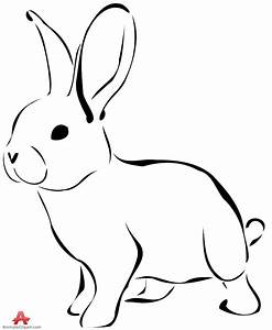 Rabbit clipart outline in black and white free clipart ...