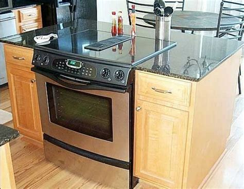 kitchen island stove top kitchen islands with slide in cooktop ovens 5169