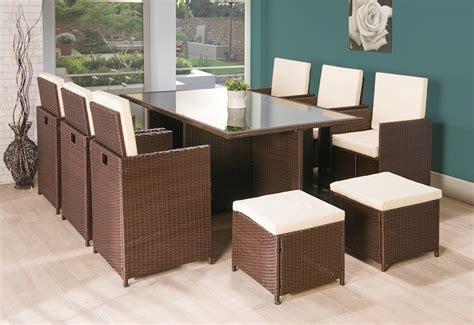 11pc cube rattan garden furniture brown