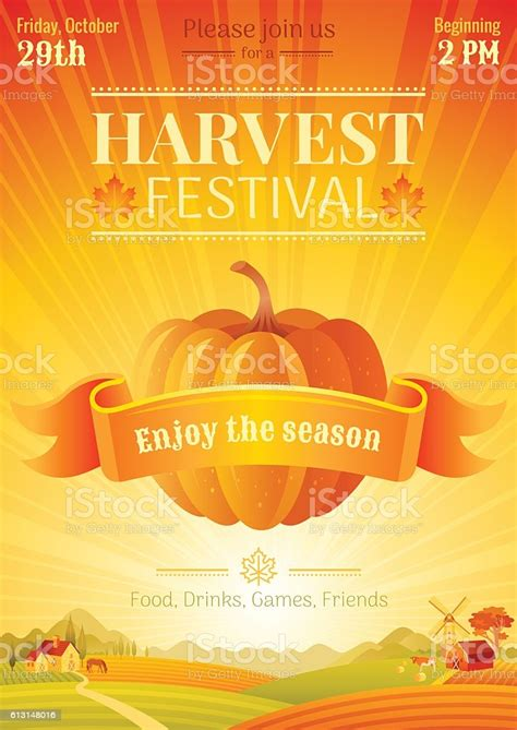 Fall Party Invitation Design Harvest Festival Poster