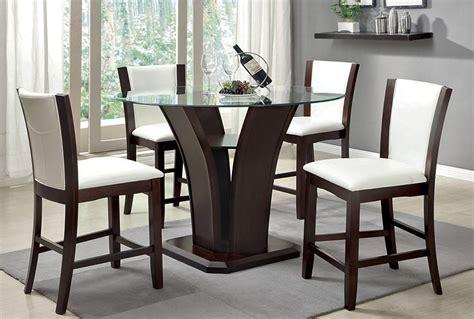 manhattan pub table with white chairs