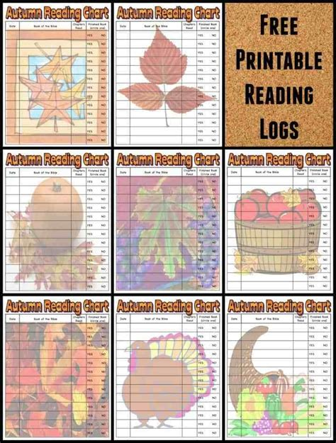 autumn fall bible reading logs  kids  printable
