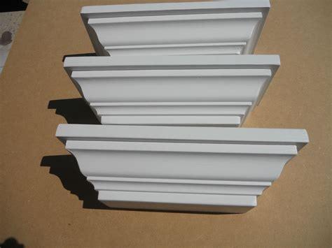 Crown Molding Wood White Wall Shelf, Set Of Three Shelves