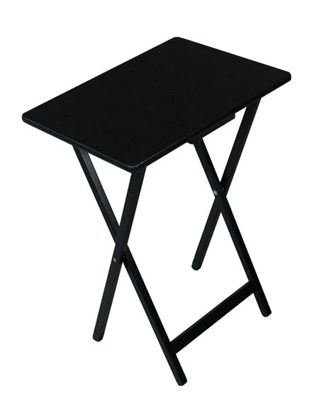 folding wooden tv tray table black