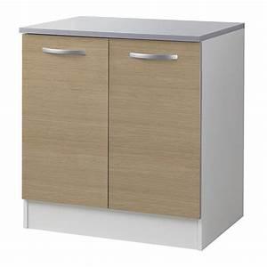 Meuble Bas 2 Portes : meuble bas 2 portes 80cm smarty naturel ~ Dallasstarsshop.com Idées de Décoration