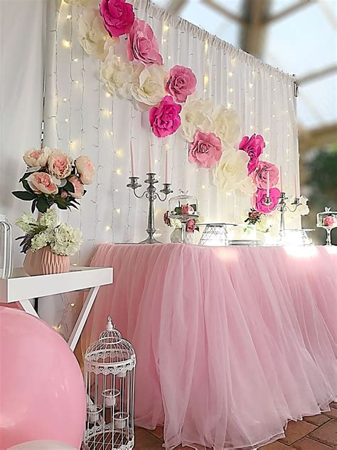 Teal And Pink Baby Shower Decorations by Pink And White Flower Backdrop The White Background