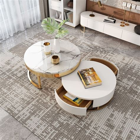 Table has a thick round edge design to the two long sides. Modern Round Coffee Table with Storage Lift-Top Wood Coffee Table with Rotatable Drawers in ...