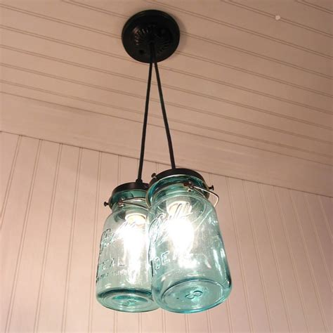 vintage blue canning jar chandelier created new by lgoods