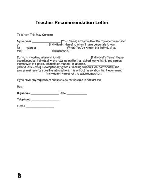 teacher recommendation letter template  samples