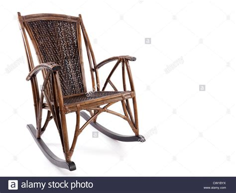 antique wooden wicker rocking chair isolated on white