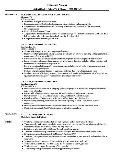 analyst inventory resume samples velvet jobs