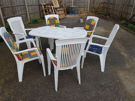 Patio Table And 6 Chairs by White Plastic Patio Table And 6 Chairs In Thetford