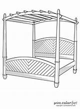 Bed Canopy Coloring Furniture Easy Printcolorfun sketch template