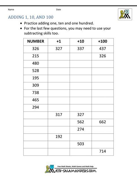 grade math worksheet adding 10 third grade addition worksheets