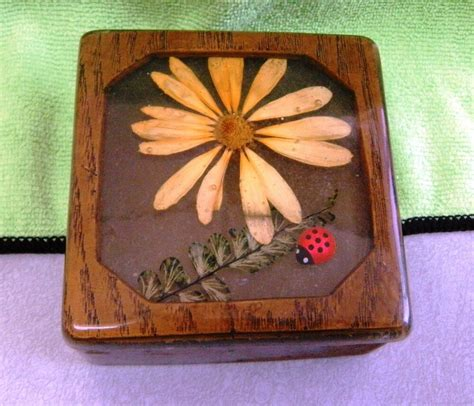 vintage wooden trinket box wwood resin cover dry flower