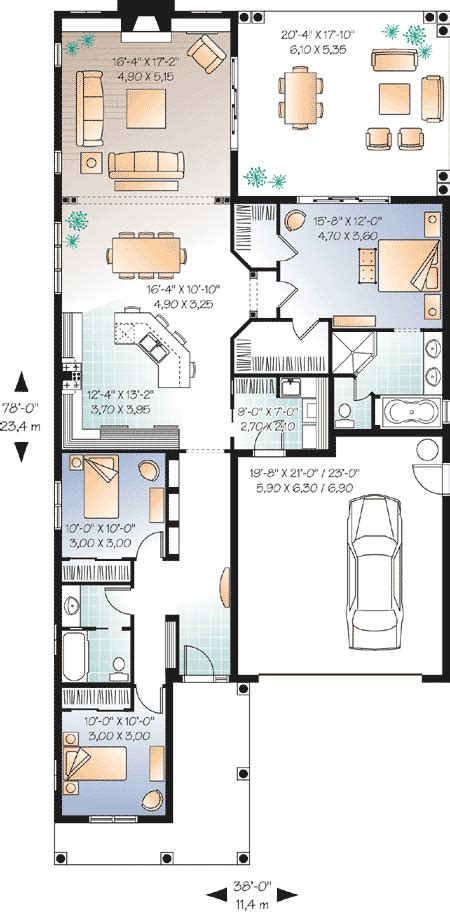 Narrow Home Plans by Narrow Lot Florida House Plan 21650dr Architectural