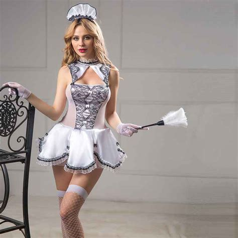 Womens Sexy Lingerie Lace Servant Girl French Maid Costumes Sex Nightwear Garter Underwear Plus